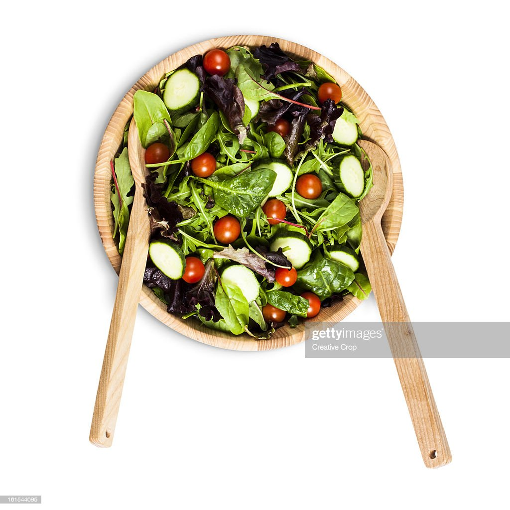 Salad bowl and serving utensils : Stock Photo