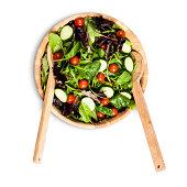 Salad bowl and serving utensils