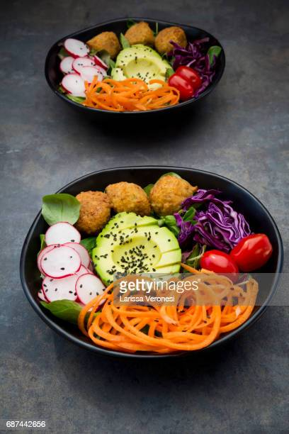 Salad bowl with falafel and avocado