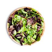 Salad bowl with fresh green salad