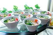 Close-up of salad in small dishes , catering.