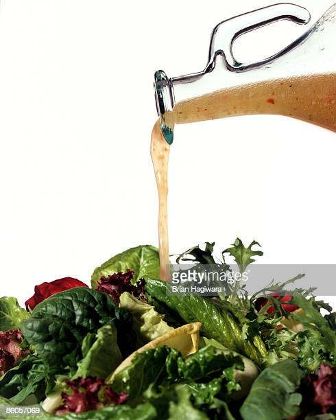 Salad greens with vinaigrette dressing