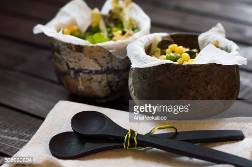 Salad in a ceramic bowls : Stock Photo