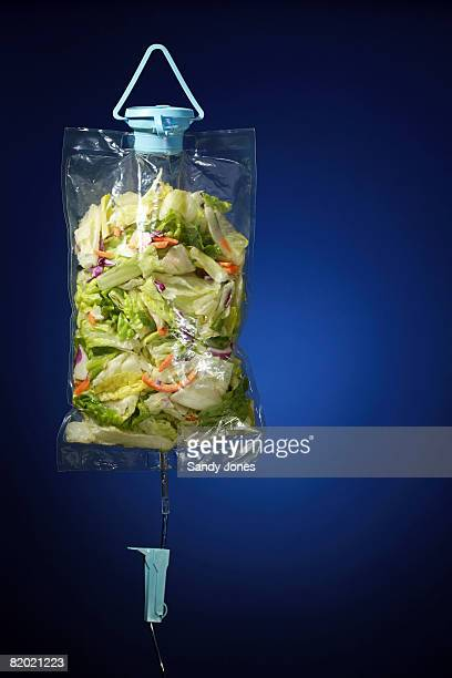 salad in an IV bag