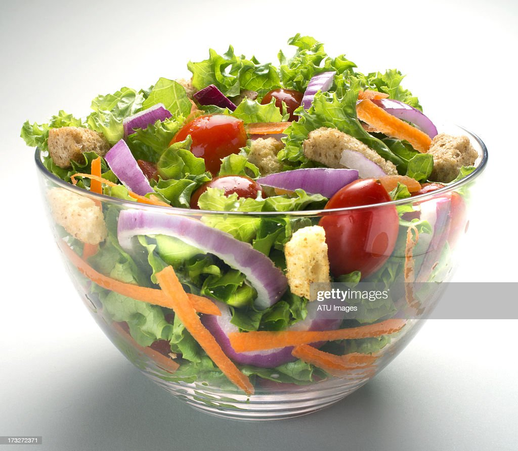 Salad in glass bowl