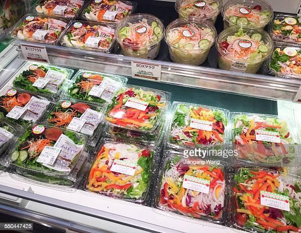 Salad in plastic box in a supermarket