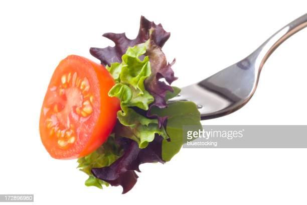 Salade sur une fourche