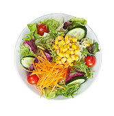 salad plate isolated on white background ( with clipping path)