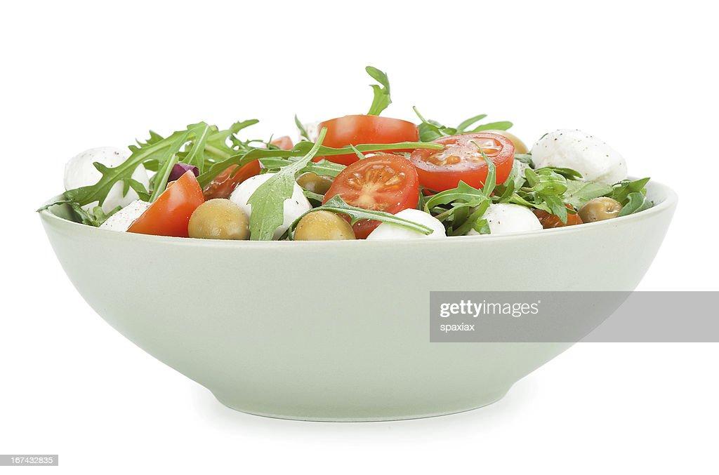 Salada com Rúcula, tomate e Mozarela : Foto de stock