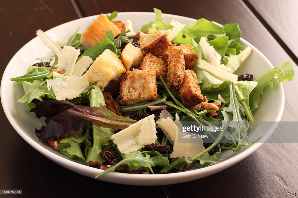 Salad with Croutons and Parmesan Cheese : Stock Photo