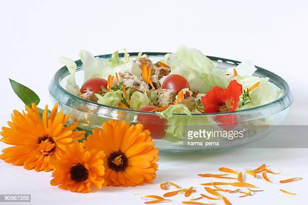 salad with marigold