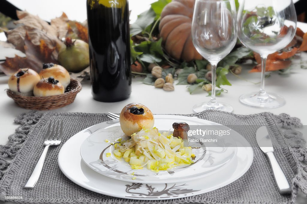 Salad with mushrooms and celery : Stock Photo