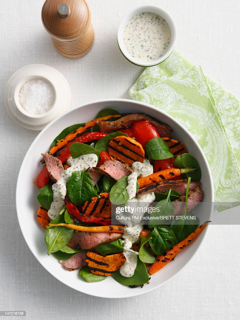Salad With Sausage And Peppers Stock Photo | Getty Images