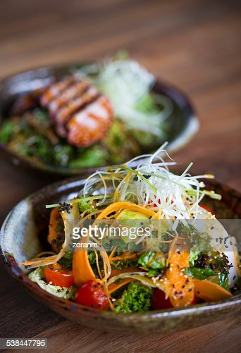 Salad with sesame