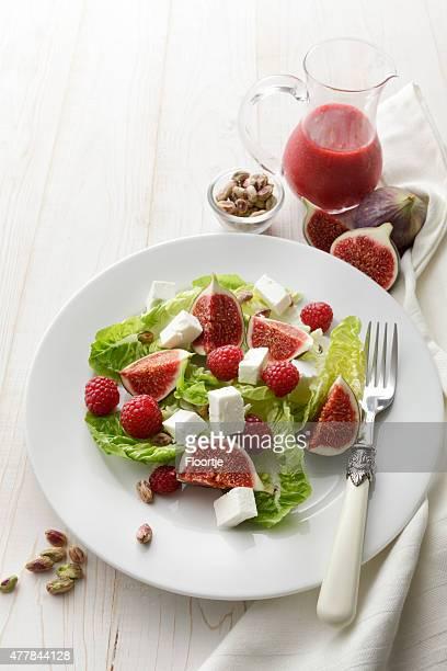 Salat-Fotos: Salat mit Feigen, Feta und Himbeeren