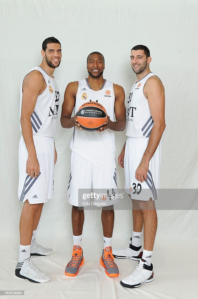 Salah Mejri #50 Marcus Slaughter #44 and Ioannis Bourousis #30 poses during the Real Madrid 2013/14 Turkish Airlines Euroleague Basketball Media Day...