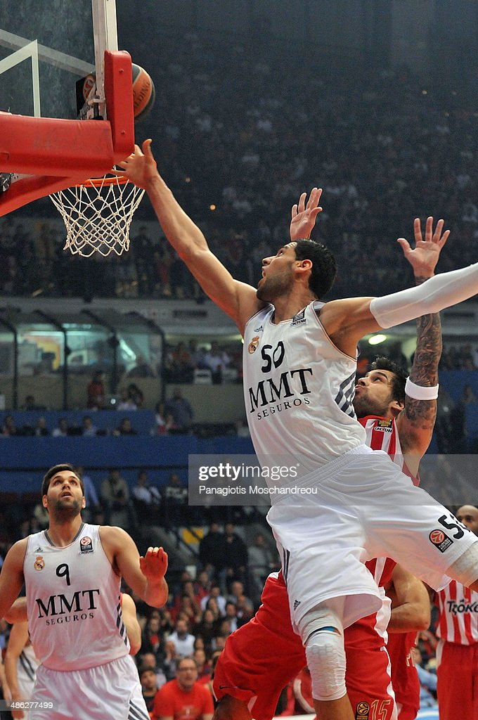 <a gi-track='captionPersonalityLinkClicked' href=/galleries/search?phrase=Salah+Mejri&family=editorial&specificpeople=7158979 ng-click='$event.stopPropagation()'>Salah Mejri</a>, #50 of Real Madrid in action during the Turkish Airlines Euroleague Basketball Play Off Game 4 between Olympiacos Piraeus v Real Madrid at Peace and Friendship Stadium on April 23, 2014 in Athens, Greece.