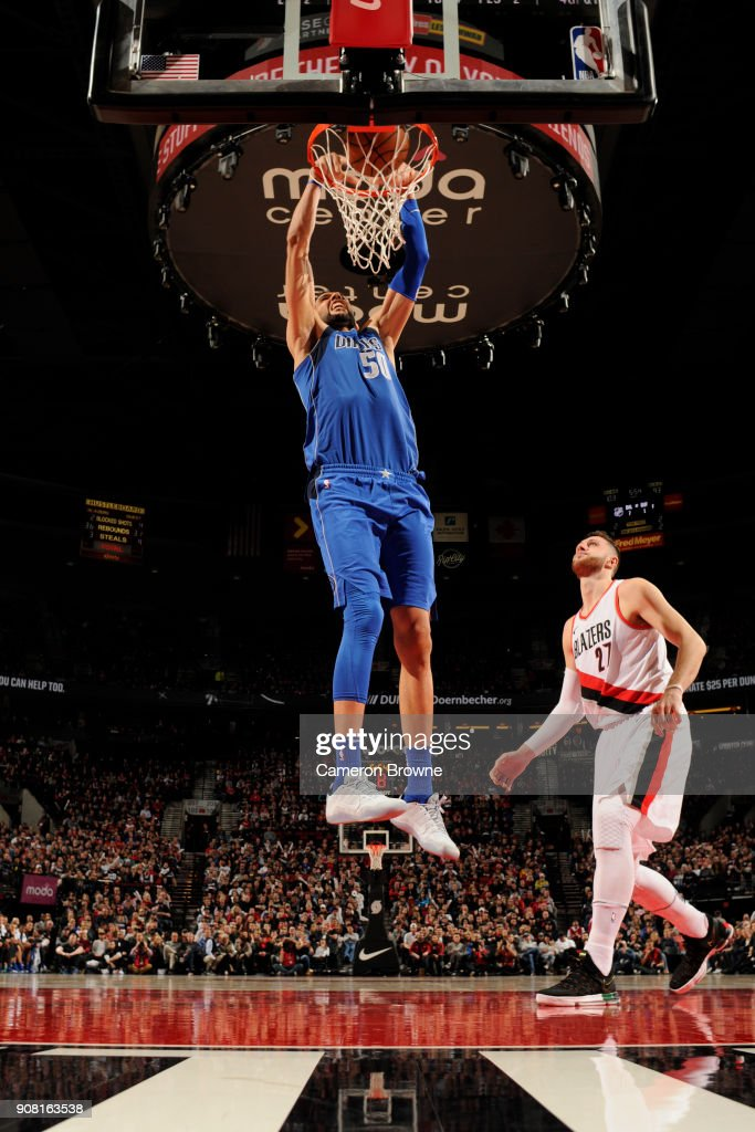 Salah Mejri #50 of the Dallas Mavericks dunks the ball against the Portland Trail Blazers on January 20, 2018 at the Moda Center in Portland, Oregon.