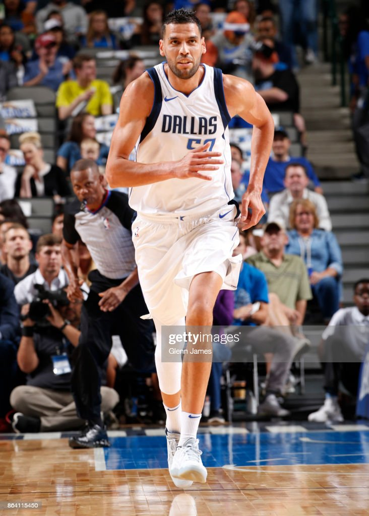 Salah Mejri #50 of the Dallas Mavericks reacts during the game against the Sacramento Kings on October 20, 2017 at the American Airlines Center in Dallas, Texas.