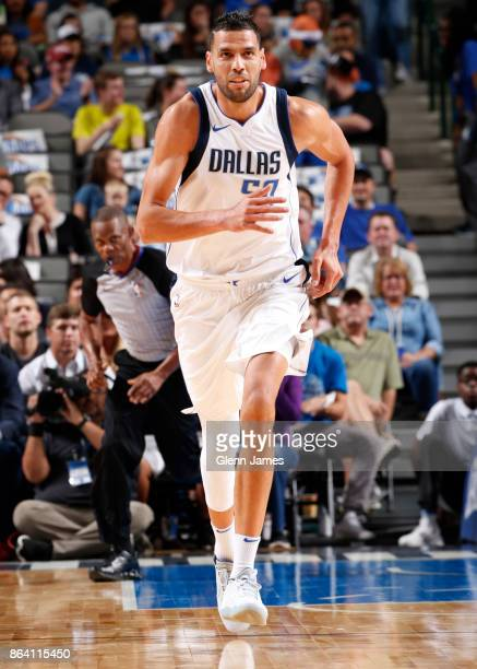 Salah Mejri of the Dallas Mavericks reacts during the game against the Sacramento Kings on October 20 2017 at the American Airlines Center in Dallas...