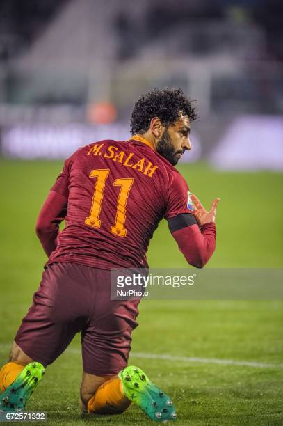 Salah Mhoamed reacts during the Italian Serie A football match Pescara vs Roma on April 24 in Pescara Italy