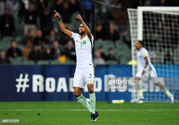 Salam Alfaraj of Saudi Arabia reacts after Salem Aldawsari of Saudi Arabia scores during the 2018 FIFA World Cup Qualifier match between the...