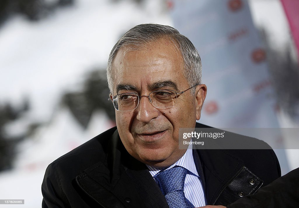 <a gi-track='captionPersonalityLinkClicked' href=/galleries/search?phrase=Salam+Fayyad&family=editorial&specificpeople=2162597 ng-click='$event.stopPropagation()'>Salam Fayyad</a>, prime minister of the Palestinian Authority, speaks during a television interview on day three of the World Economic Forum (WEF) in Davos, Switzerland, on Friday, Jan. 27, 2012. The 42nd annual meeting of the World Economic Forum will be attended by about 2,600 political, business and financial leaders at the five-day conference. Photographer: Simon Dawson/Bloomberg via Getty Images