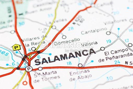 Salamanca Spanien Karte.Stadtteil Salamanca Auf Einer Karte Anzeigen Stock Foto Thinkstock