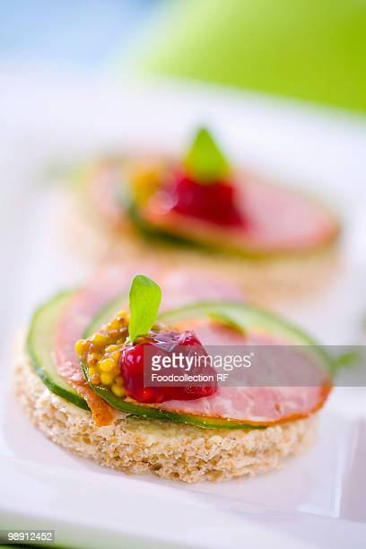 Salami, cucumber, cranberry jam and mustard on wholemeal bread, close-up