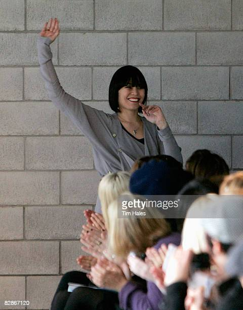 Salasai designer Kirsha Whitcher waves to the crowd following her collection show on the third day of Air New Zealand Fashion Week 2008 at Vector...