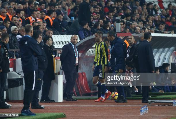 Saldado of Fenerbahce is seen after getting injured during the Turkish Super Lig match between Antalyaspor and Fenerbahce at Antalya Stadium in...