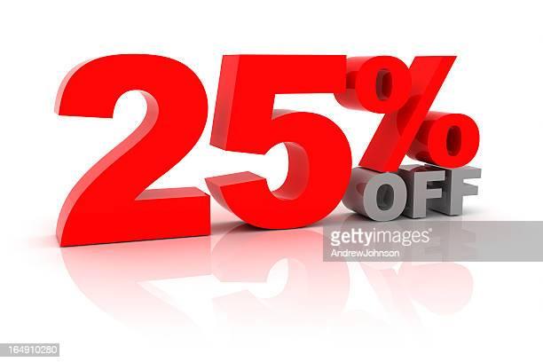 25 por ciento de descuento en la venta