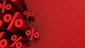 abstract 3d illustration of red background with percent signs at left side