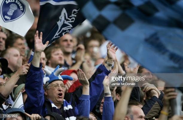 Sale Fans celebrate their team's victory during the Guinness Premiership Final between Sale Sharks and Leicester Tigers at Twickenham on May 27 2006...