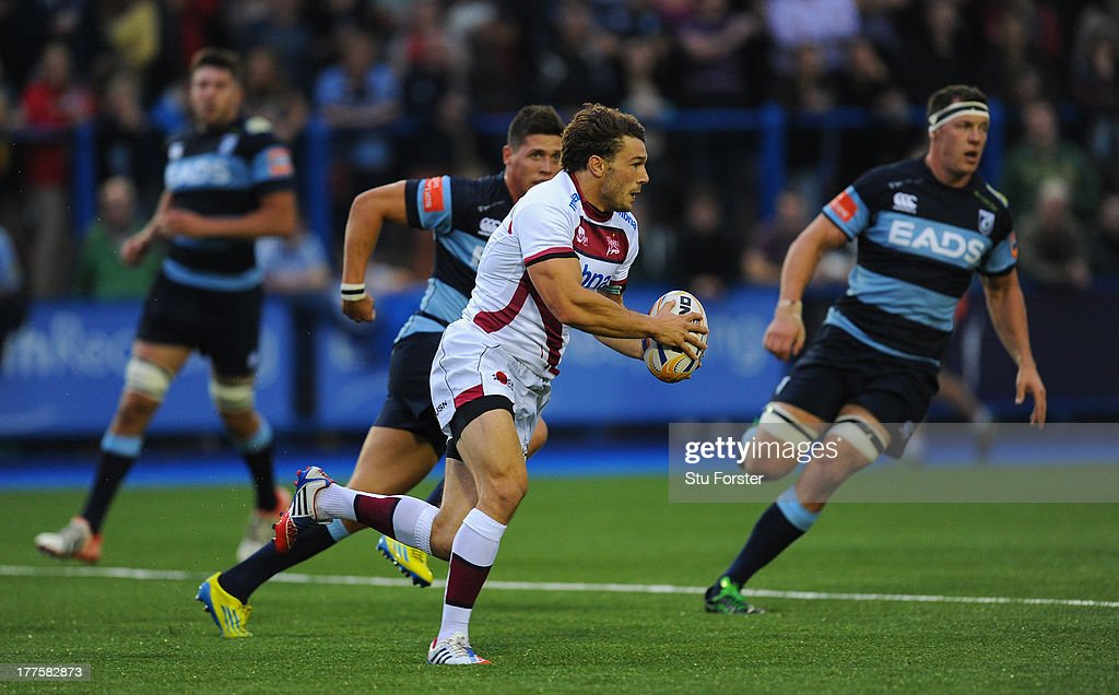 Sale fullback Tom Arscott in action during the pre-season friendly match between Cardiff Blues and Sale Sharks at Cardiff Arms Park on August 23, 2013 in Cardiff, Wales.