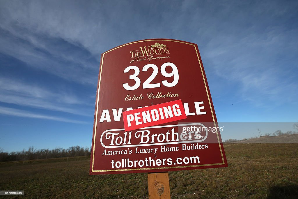 A sale is pending on a lot offered in a Toll Brothers housing development on December 4, 2012 in South Barrington, Illinois. Toll Brothers beat fiscal fourth-quarter earnings expectations which CEO Douglas Yearley Jr. attributed to an increase in home prices, low interest rates and a pent up demand. Nationwide home prices increased 6.3% in October from a year earlier, the biggest year-over-year gain since 2006.