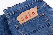 Sale label in jeans pocket