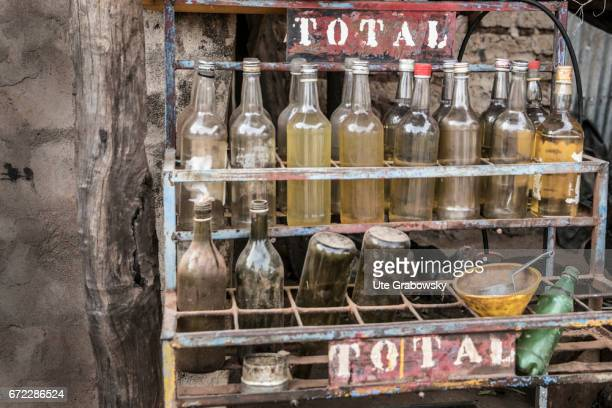 Sale of bottles of gasoline on a country road near Dano on February 27 2017 in Dano Burkina Faso