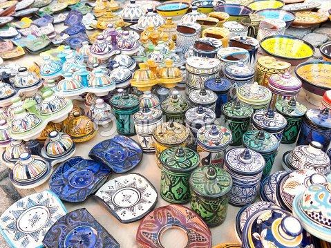 Oggetti Tipici Del Marocco.Vendita Di Ceramica Tipico Del Marocco Foto Stock Thinkstock