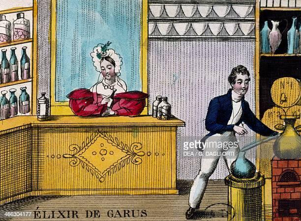 Sale of liquor elixirs of Garusi ca 1820 engraving France 19th century