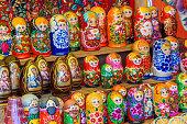 Sale of traditional Russian souvenirs 'Matreshka'. Russia, Suzdal, September 2017.