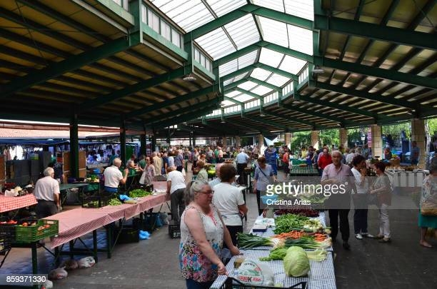 Sale of vegetables in the Monday market of GernikaLumo on June 2017 Gernika Vizcaya Basque Country Spain