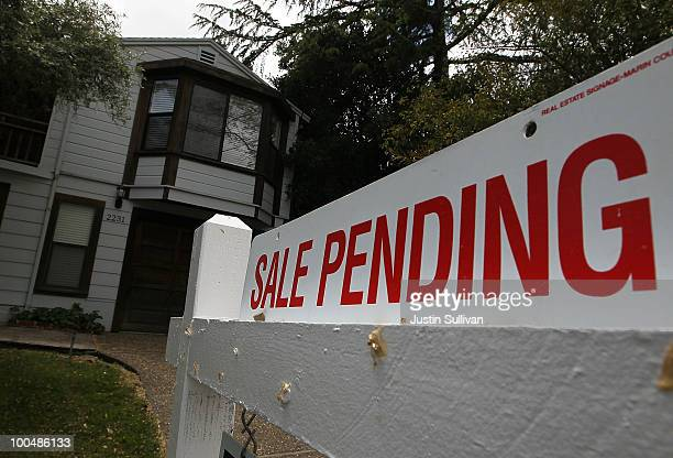 A 'sale pending' sign is displayed in front of a home for sale May 24 2010 in San Rafael California Government incentives and low mortgage rates...