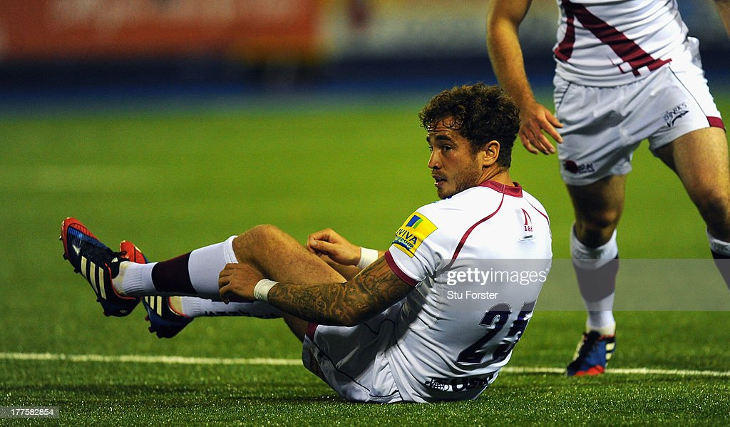 Sale player Danny Cipriani (c) in action during the pre-season friendly match between Cardiff Blues and Sale Sharks at Cardiff Arms Park on August 23, 2013 in Cardiff, Wales.