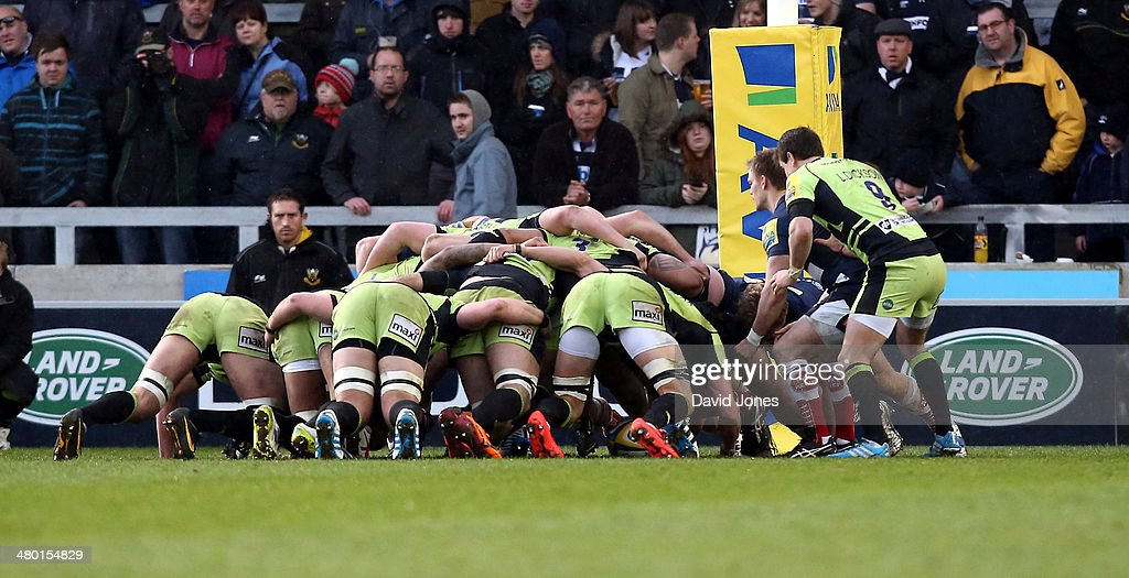 Sale Sharks and Northampton Saints forwards battle for the ball during the Aviva Premiership match between Sale Sharks and Northampton Saints at the A J Bell Stadium, on March 22, 2014 in Salford, England
