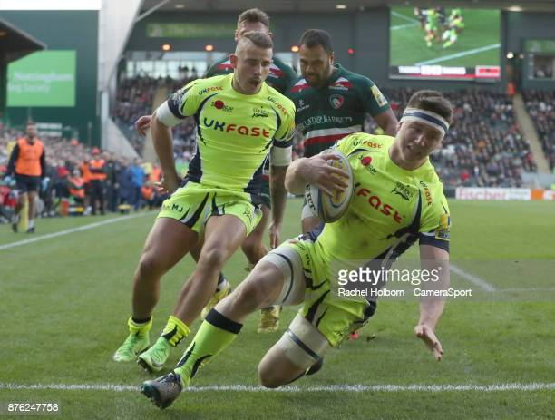 Sale Sharks' Ben Curry scores his sides first try during the Aviva Premiership match between Leicester Tigers and Sale Sharks at Welford Road on...