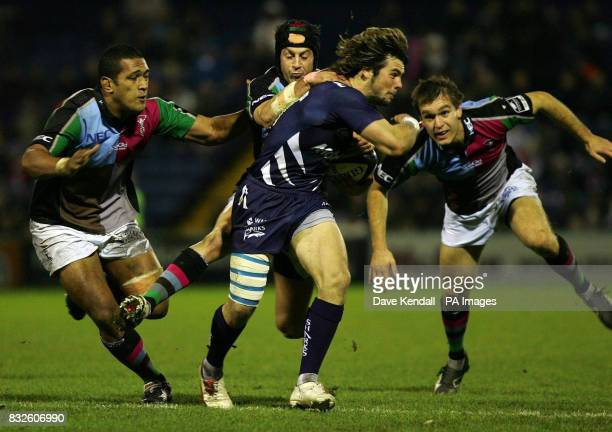 Sale Sharks' Ben Foden runs at the Harlequins defence during the Giunness Premiership match at Edgeley Park Sale