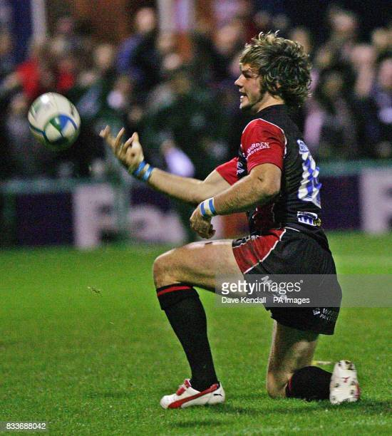Sale Sharks' Ben Foden throws the ball away in celebration after scoring the third try against Calvisano during the Heineken Cup pool three match at...