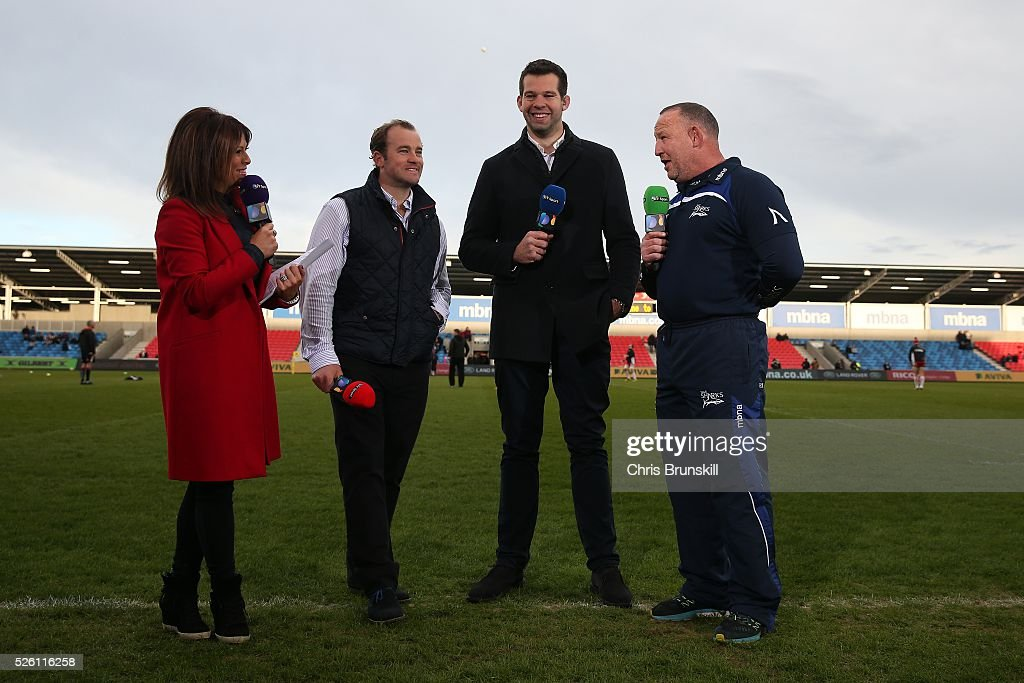 Sale Sharks director of Rugby Steve Diamond (R) speaks to the media ahead of the Aviva Premiership match between Sale Sharks and Gloucester Rugby at the AJ Bell Stadium on April 29, 2016 in Salford, England.