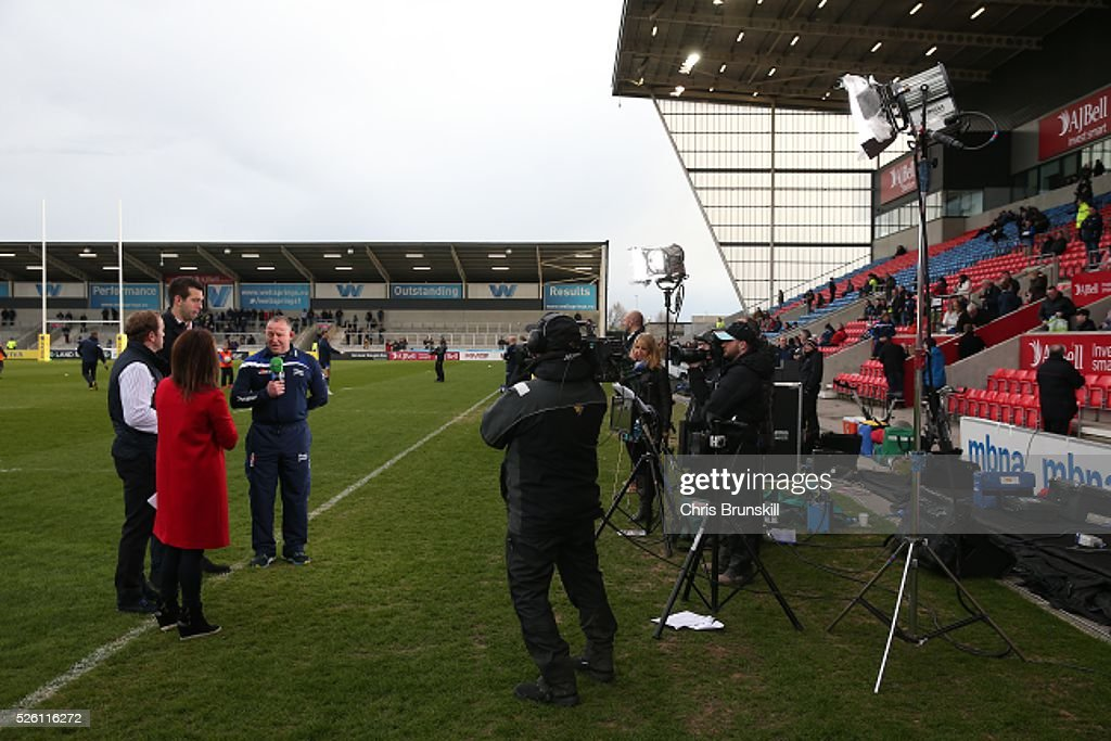 Sale Sharks director of Rugby Steve Diamond speaks to the media ahead of the Aviva Premiership match between Sale Sharks and Gloucester Rugby at the AJ Bell Stadium on April 29, 2016 in Salford, England.